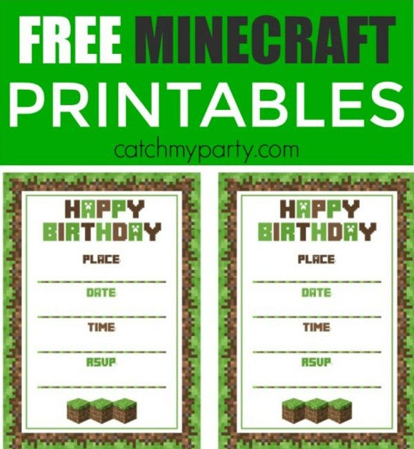 Free Printable Minecraft Birthday Invitation