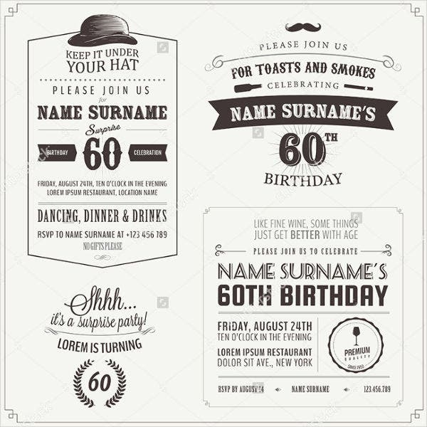 Vintage Birthday Invitation Card