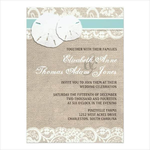 lace beach wedding invitations