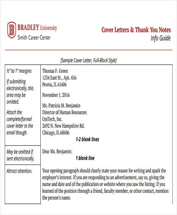 sample thank you cover letter