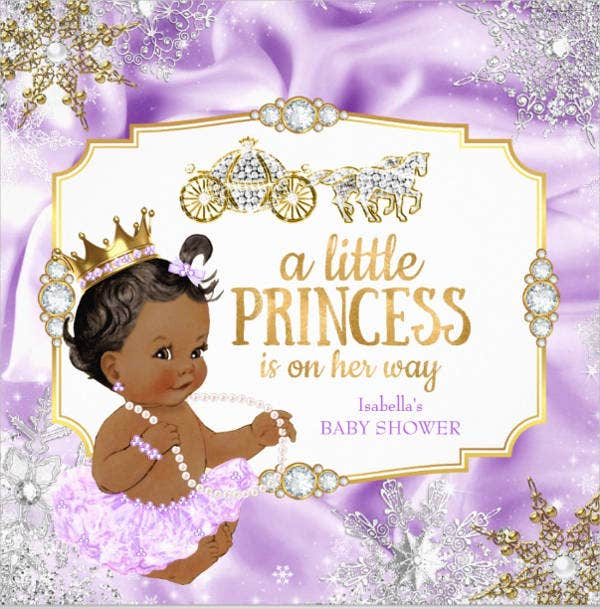 purple and gold royal baby shower invitation