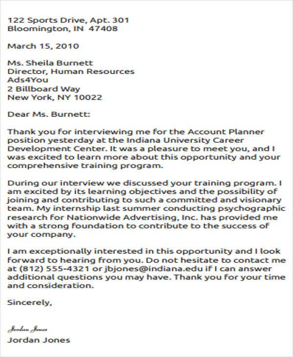 Formal Thank You Letters Formal Thankyou Letter After Interview