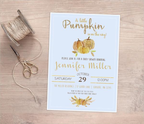 Autumn Baby Boy Shower Invitation