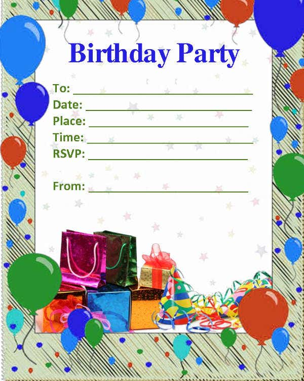 Free Blank Birthday Invitation