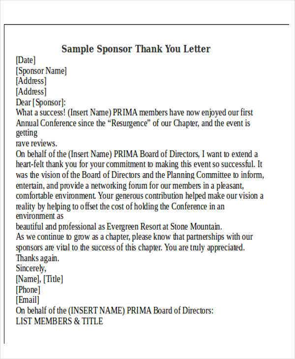 sponsor thank you letter thank you letter format free amp premium templates 24943 | Sample Sponsor Thank You Letter