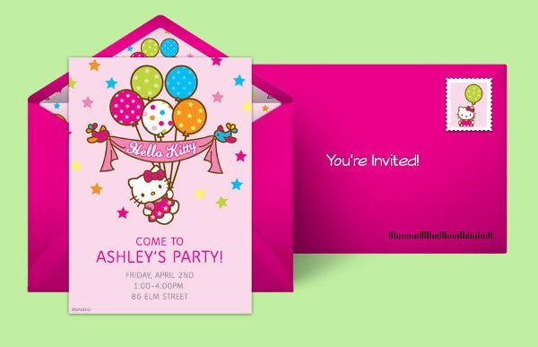 Hello Kitty Birthday Invitation Card