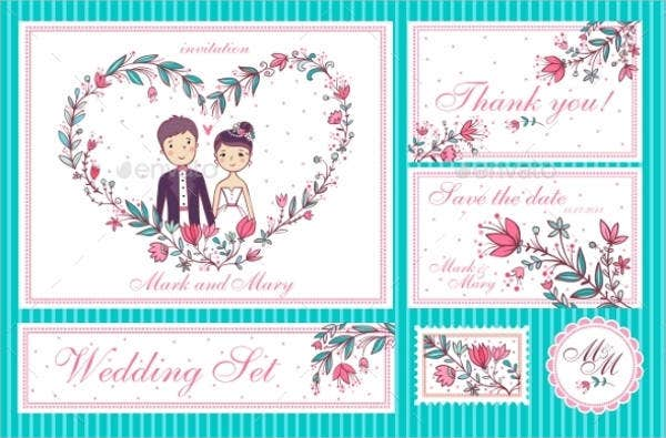 cartoon wedding invitation cards design