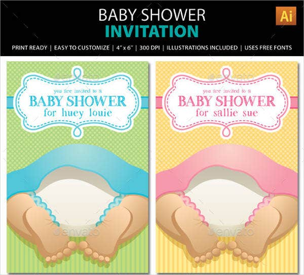 diaper party baby shower invitation
