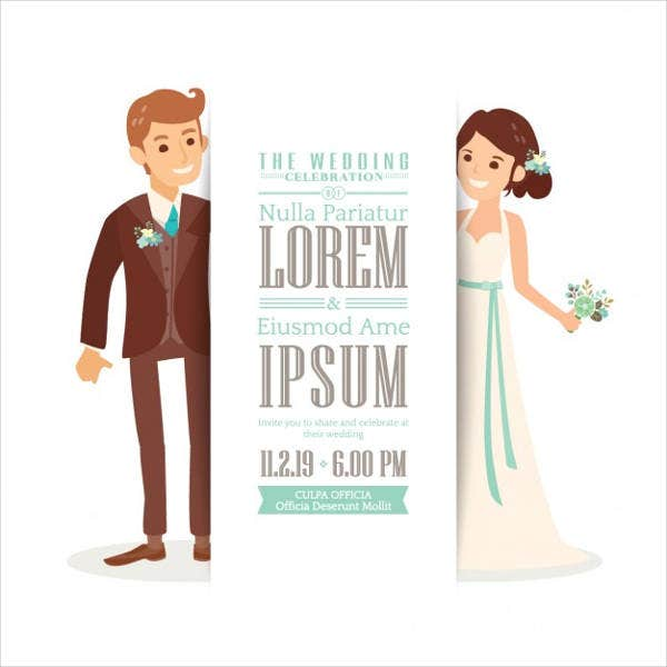 cartoon couple wedding invitations