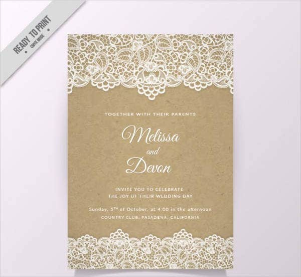 vintage lace wedding invitation