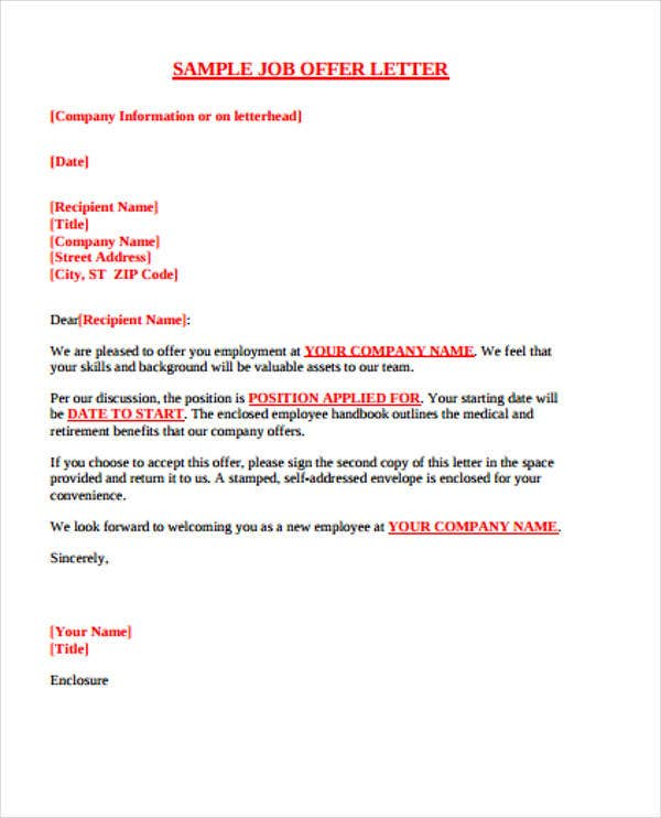 sample job offer letter email