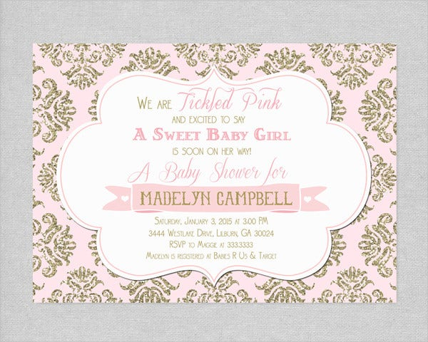 Pink and Gold Glitter Baby Shower Invitation