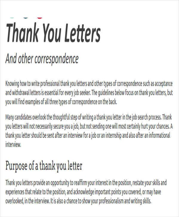 Professional Internship Thank You Letter  Professional Thank You Letter