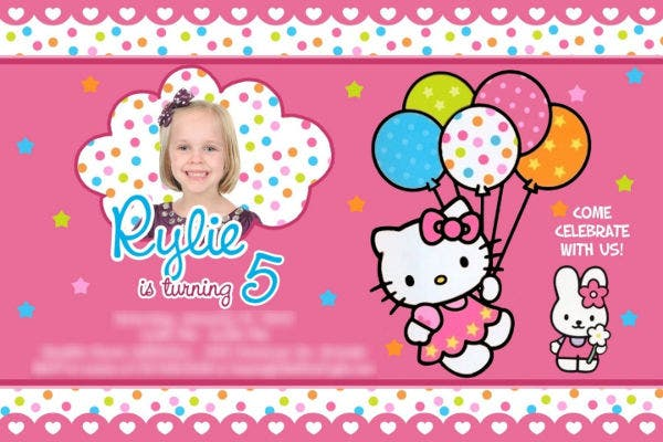 Hello Kitty Birthday Invitation Vector