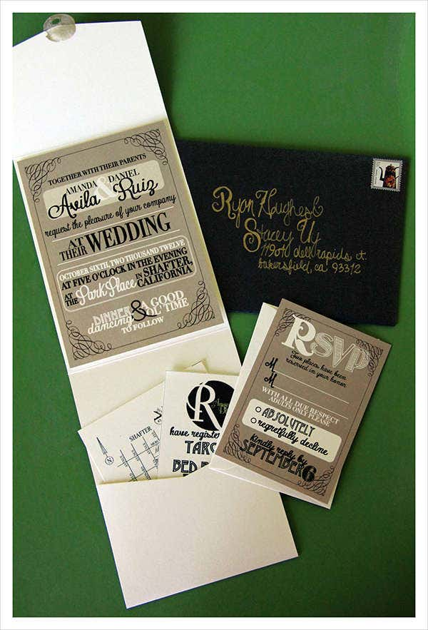rustic tri fold wedding invitation