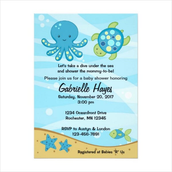 under the sea mermaid baby shower invitation