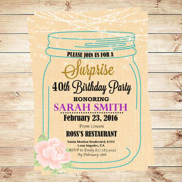 Diy Rustic Birthday Invitation