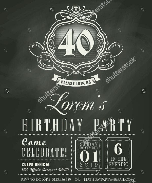 Chalkboard Birthday Party Invitation