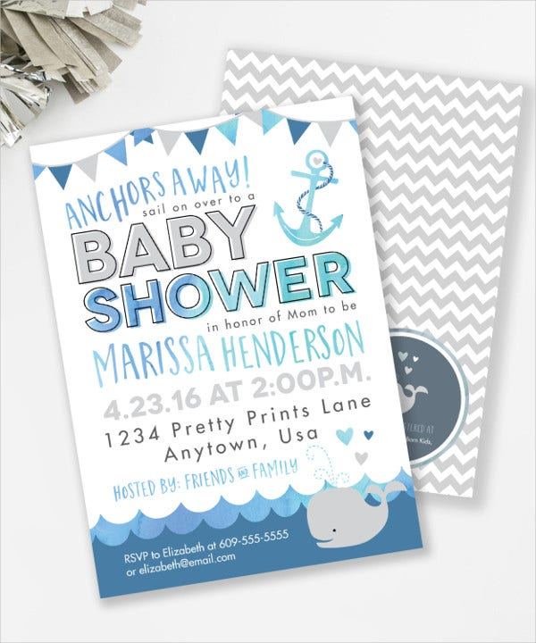 Whale and Anchor Baby Shower Invitation