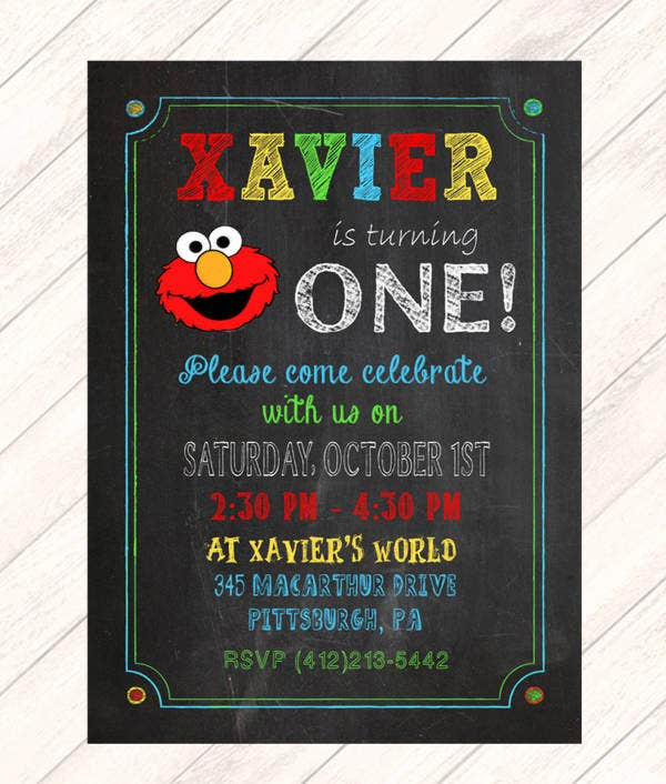 Chalkboard 1st Birthday Invitation