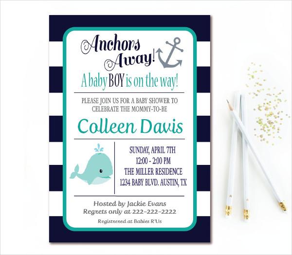 Navy Ribbon Anchor Baby Shower Invitation