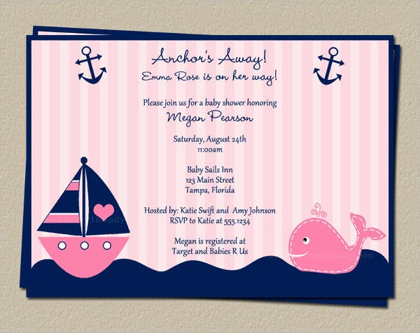 Anchor Sailboat Baby Shower Invitation