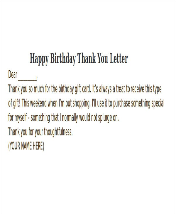 Happy Birthday Thank You Letter
