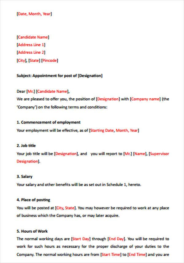 sample offer letter format for sales executive