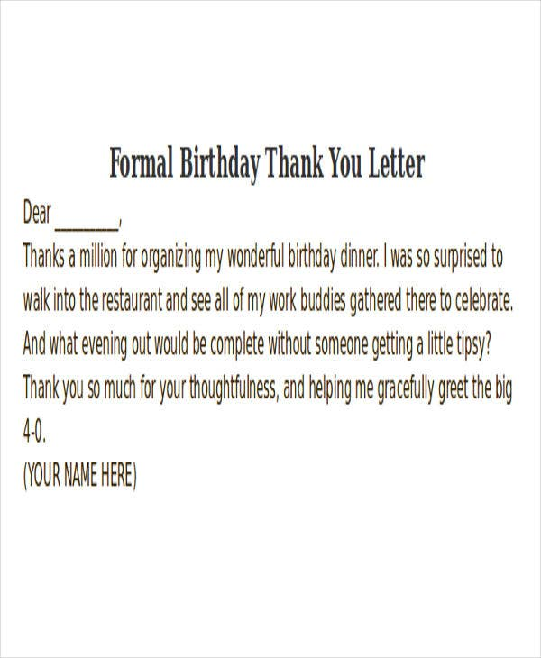 Thank you letter format free premium templates formal birthday thank you letter spiritdancerdesigns Gallery