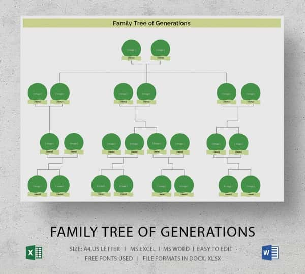 Simple Family Tree Template   Free Word Excel  Format