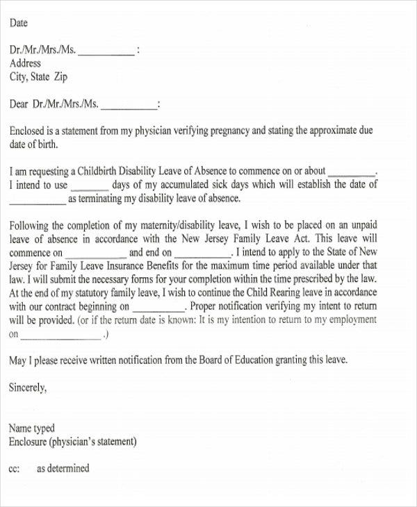 formal maternity leave letter