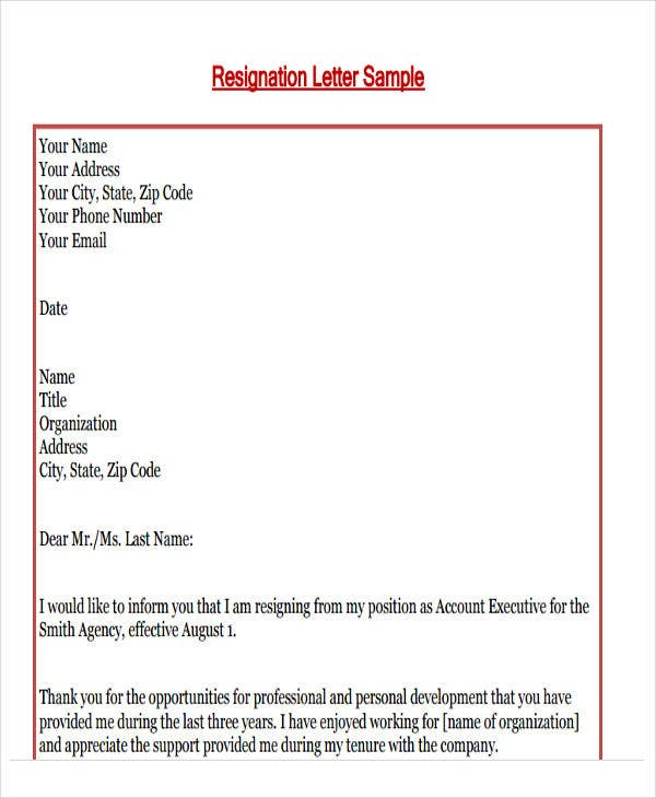 55 formal letter examples free premium templates formal resignation letter examples formal job resignation letter example expocarfo Choice Image