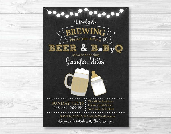 bbq and beer baby shower invitation