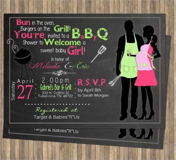 Chalkboard BBQ Baby Shower Invitation