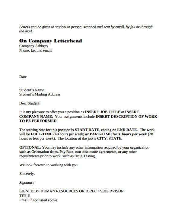 sample part time job offer letter