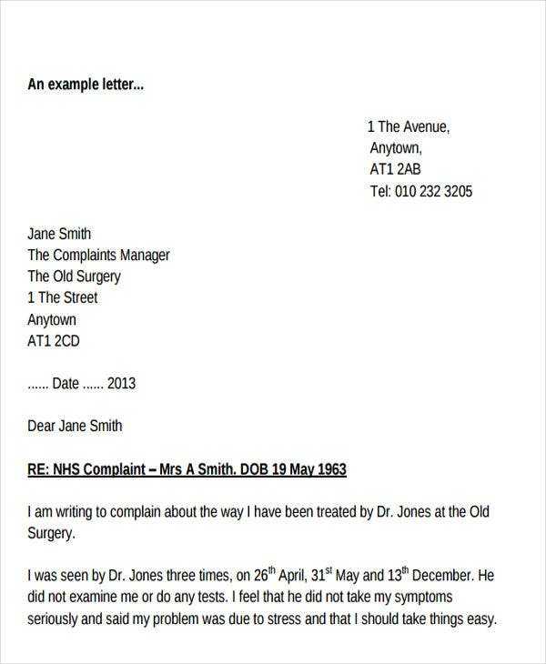 employee formal complaint letter example
