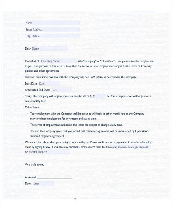 internship offer letter template