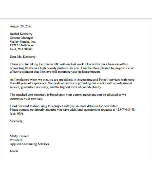 business proposal offer letter sample