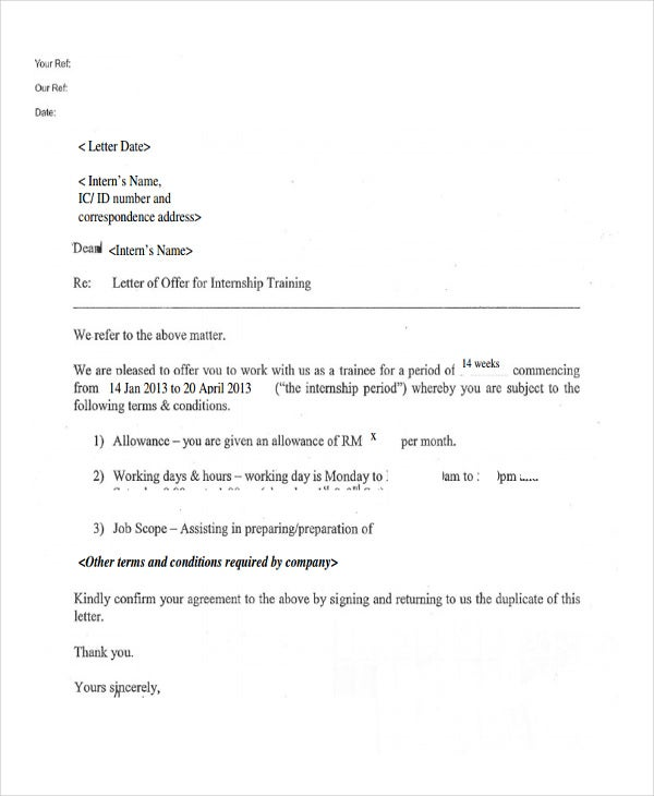 summer internship offer letter template