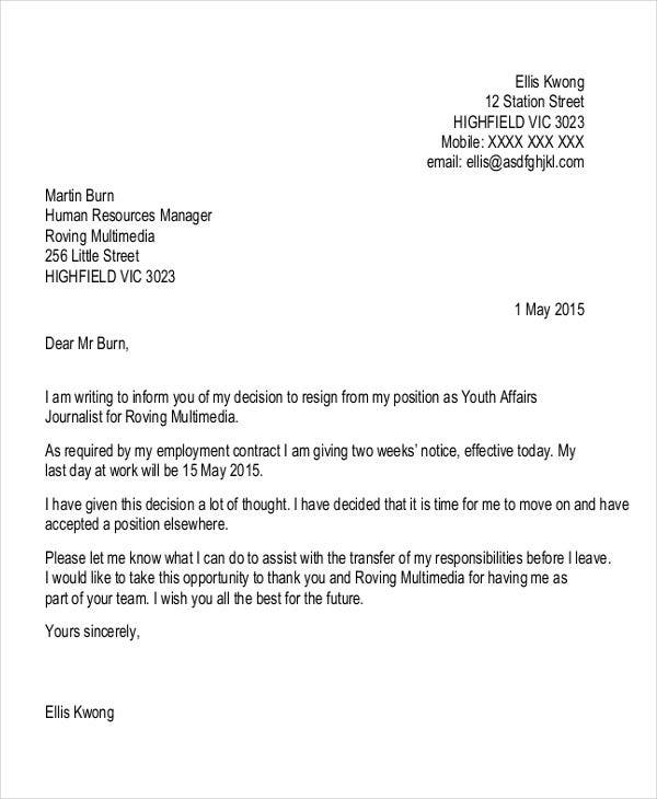 formal job resignation letter1