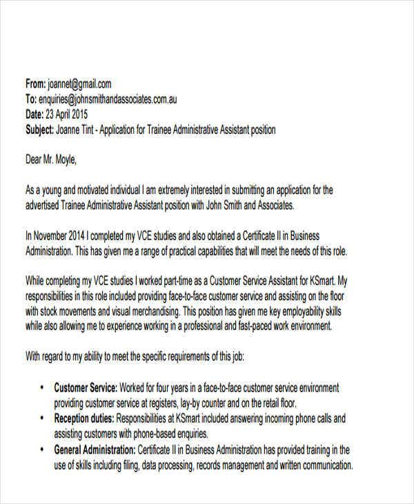 Cover Letter Email Example