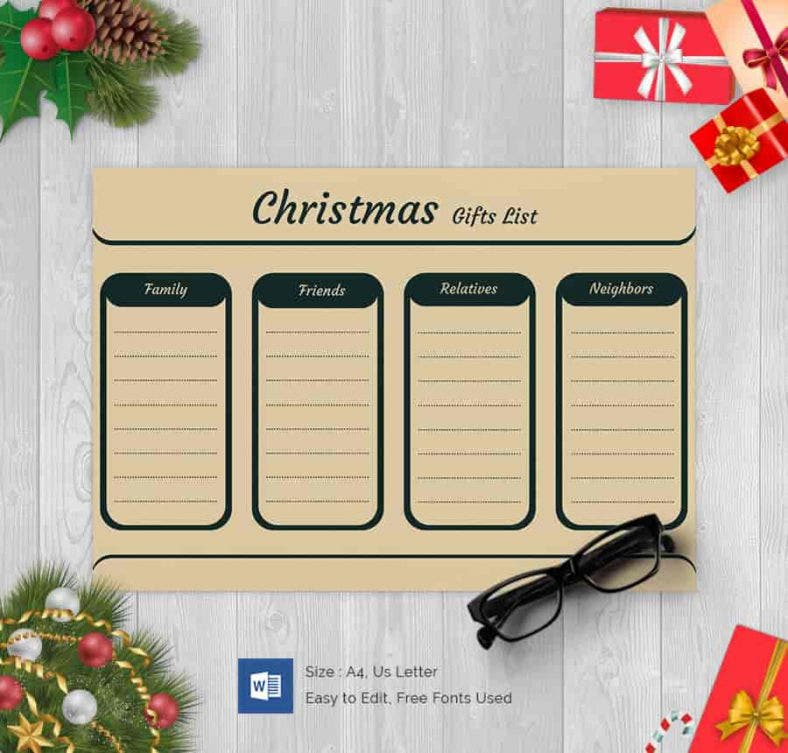Family Christmas Gift Lists.24 Christmas Gift List Templates Free Printable Word Pdf