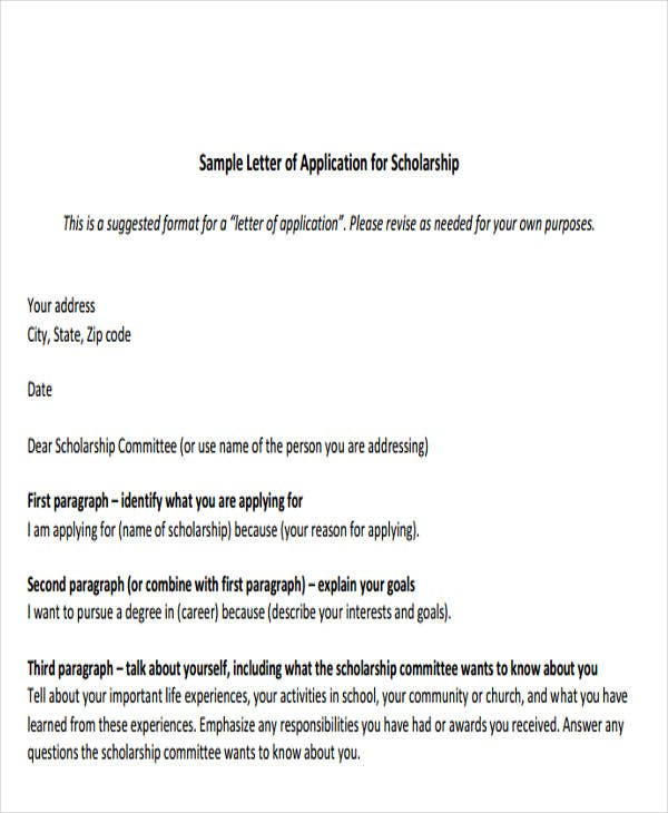 sample formal letter of application for scholarship