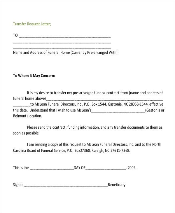 Formal Transfer Request Letter  Purchase Requisition Letter