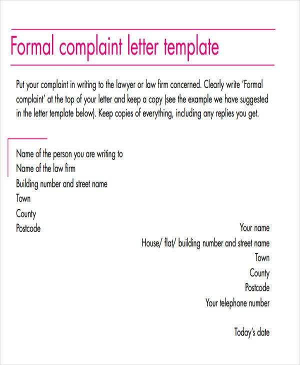 free formal grievance letter template
