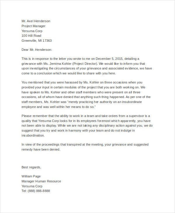 Formal letter templates 65 free wordpdf document download free formal grievance letters formal grievance response letter esampleletters thecheapjerseys Choice Image