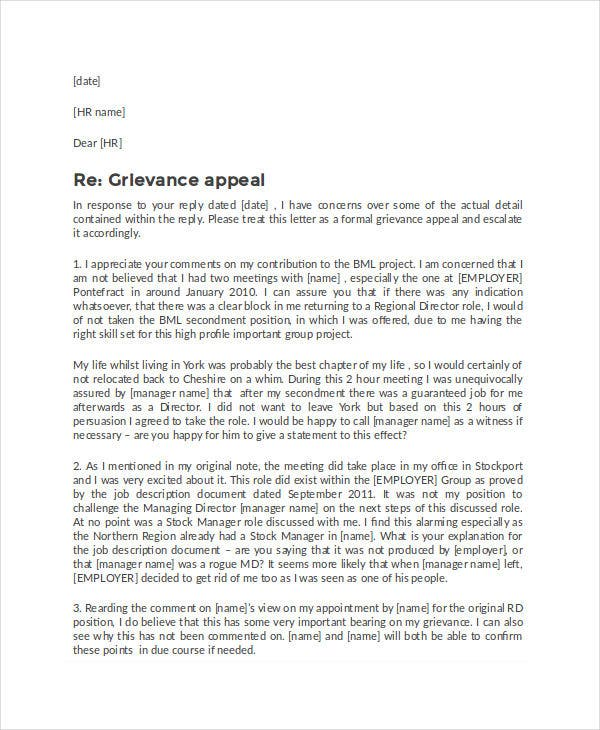 Formal Grievance Appeal Letter