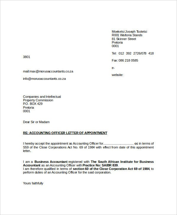 44 appointment letter template examples free premium templates appointment format for accounting officer in word moruoaccountants spiritdancerdesigns