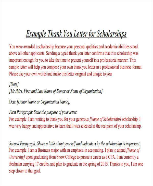 example of a formal thank you letter for scholarship