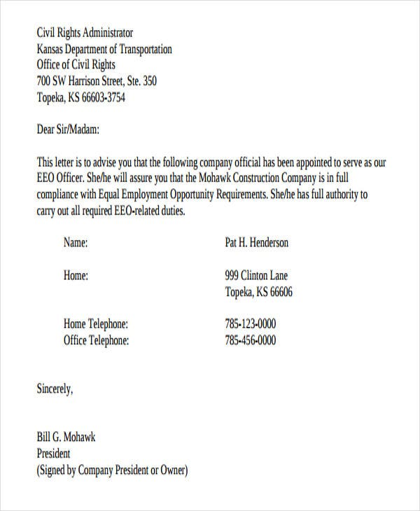 construction company offer letter format